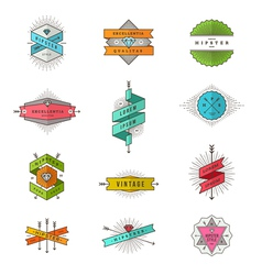 Set of colored hipster line signs and emblems vector image vector image