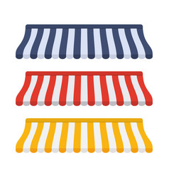 set of striped awnings for shop vector image