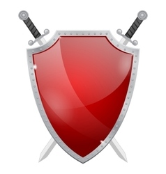 Shield with swords Glass shield with metal frame vector image