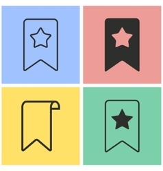 Bookmark icon set vector image vector image