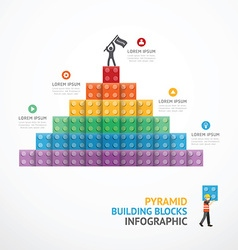 Infographic Template step building Pyramid blocks vector image vector image