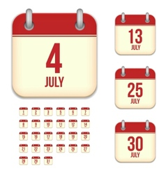 July calendar icons vector image