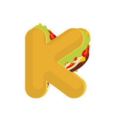 letter k tacos mexican fast food font taco vector image