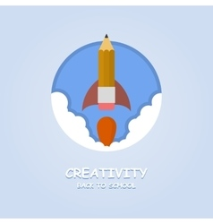 Rocket ship launch made with pencil Creativity vector image