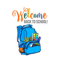welcome back to school poster banner postcard vector image vector image