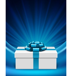 white gift box with blue ribbon vector image