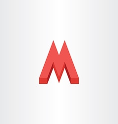 3d red letter m icon logo vector