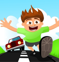 Child running away from car vector image vector image