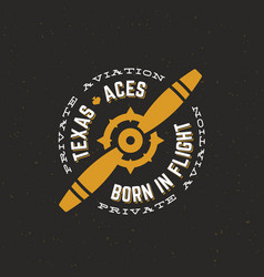 texas aces airplane retro label sign or vector image