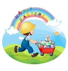 A boy with a helmet pushing the eggs and the bunny vector image