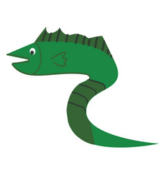 a green fish in shape a snake with long vector image