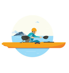 a man doing kayaking on his vacation in the lake vector image