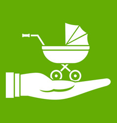 baby pram protection icon green vector image