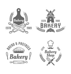 Bakery and pastries black isolated emblems vector