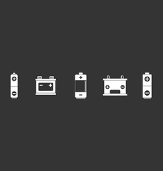 battery icon set grey vector image