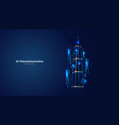 Blue abstract 3d isolated 5g tower vector