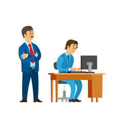 Boss company leader supervising new office worker vector