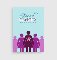 Breast cancer awareness pink girl poster design vector
