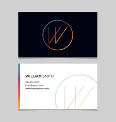 Business-card-letter-w vector