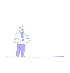 businessman holding smartphone using mobile app vector image