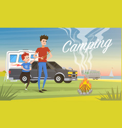camping holidays travel with family in the vector image