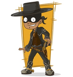Cartoon bandit in black mask vector