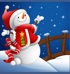 cartoon snowman with christmas background vector image