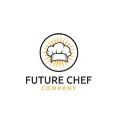 Chef hat headgear cook kitchener logo vector
