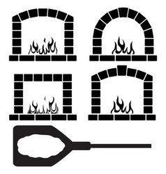clipart set of ovens with burning fire and pizza vector image