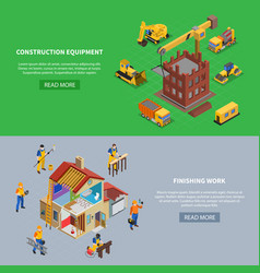 construction horizontal banners collection vector image