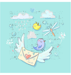 cute postal birds and delivery elements set vector image