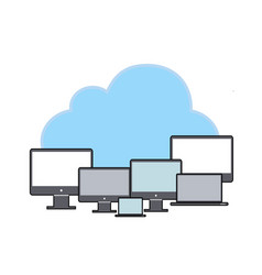 data storage network technologycloud with pc flat vector image