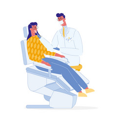 Dentist and patient color vector