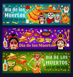 dia de los muertos catrina skulls and sombreros vector image