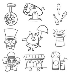 Doodle circus various element vector