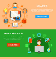 E learning banner set vector