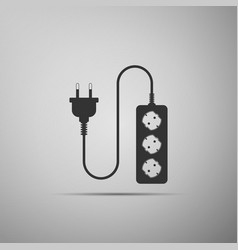 electric extension cord icon on grey background vector image