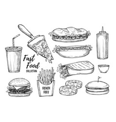 fast food background vector image