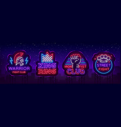 Fight club collection neon signs set logo in neon vector