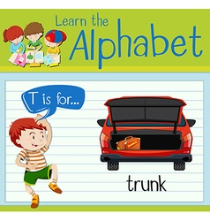 Flashcard alphabet t is for trunk vector