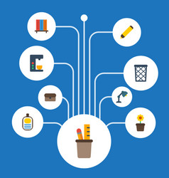flat icons bookshop trash basket desk light and vector image
