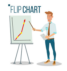Flip chart seminar concept man showing vector
