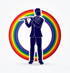 Flutist player a man play flute classic music vector