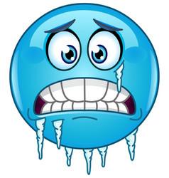 Freezing emoticon vector