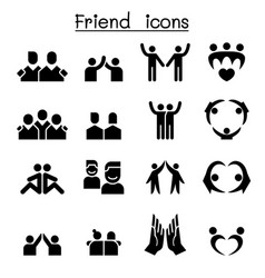 Friendship friend icon set vector