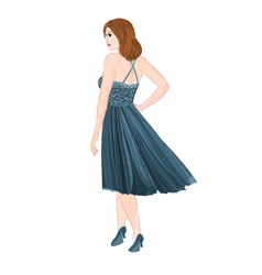 Girl figure in blue dress vector