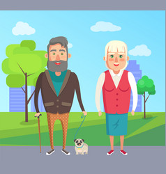 grandfather grandmother walk dog city park vector image