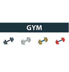 gym icon set premium symbol in different styles vector image