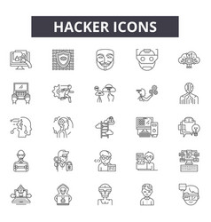 hacker line icons signs set outline vector image