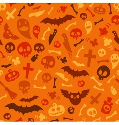 Halloween Symbols Seamless Pattern Orange vector image